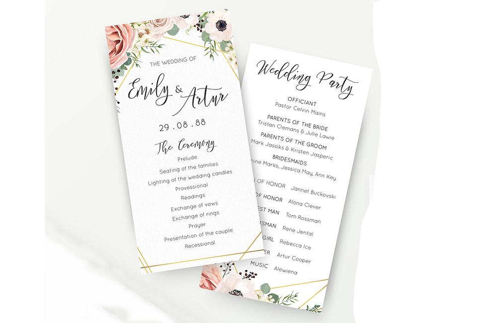 Wedding Order Of Service.Wedding Order Of Service Printing All Wedding Stationery Print It